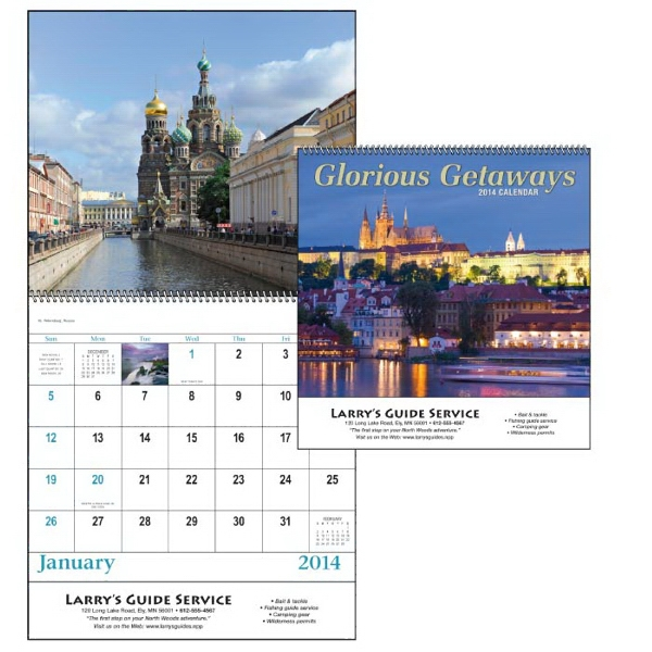 Spiral, 13-month Scenic 2015 Calendar With Scenic Vacation Destinations Photo