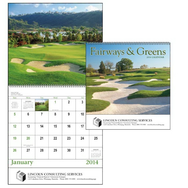 Spiral, 13-month 2015 Calendar Showcasing Beautiful Fairways Photo