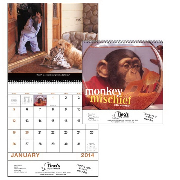 Spiral, 13-month 2015 Calendar With Funny Photos Of Monkeys Photo