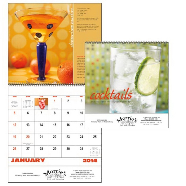 Spiral, 13-month 2015 Calendar With Photos Of Popular Cocktails And Their Recipes Photo