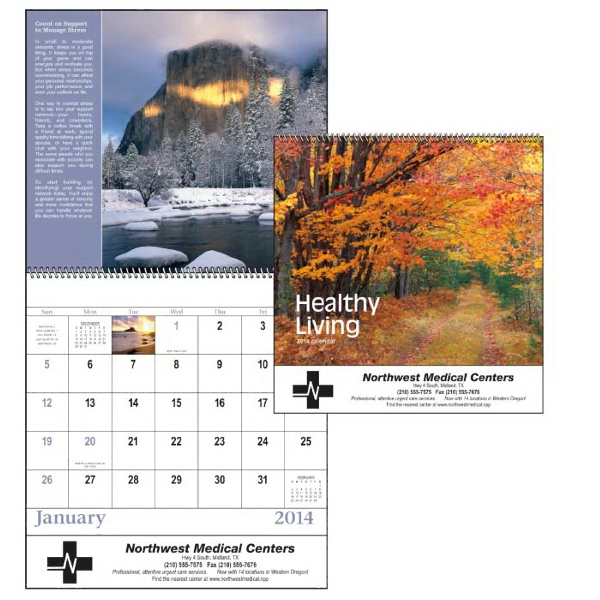 Spiral, 13-month 2015 Calendar With Majestic Natural Wonders And Healthy Tips Photo