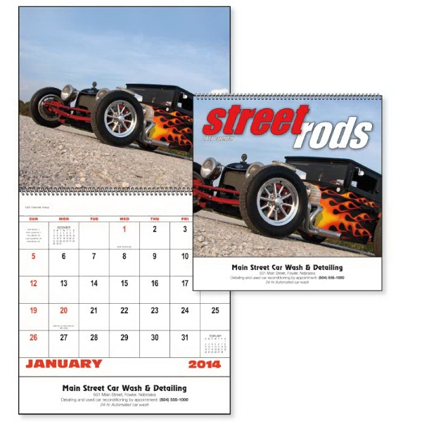 Spiral, 13-month 2015 Calendar Displays Street Rods Photo