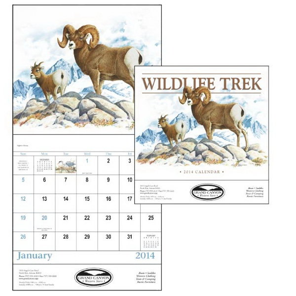 Stapled, 13-month 2015 Calendar With Detailed Wildlife Paintings Photo