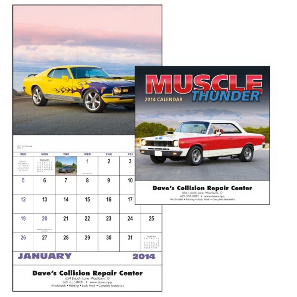 Stapled, 13-month 2015 Calendar With Photos Of Muscle Cars Photo
