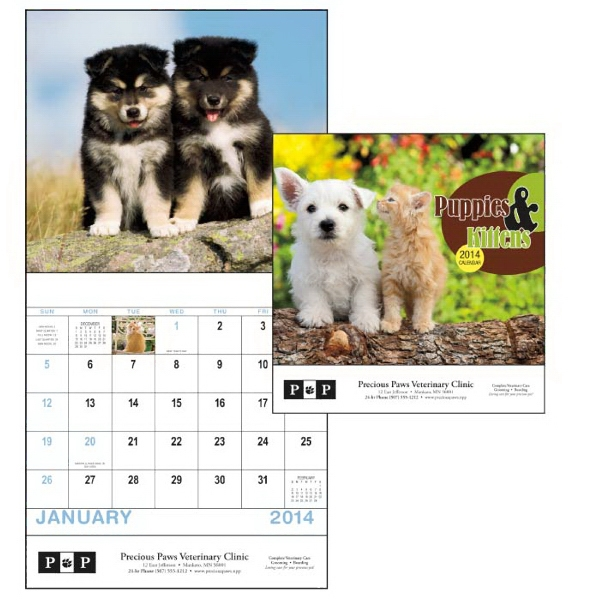 Stapled, 13-month 2015 Calendar With Adorable Images Of Puppies And Kittens Photo