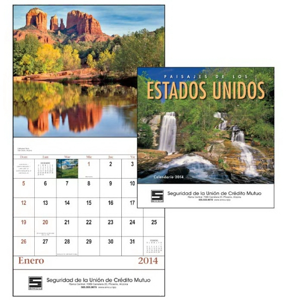 Paisajes Do Los Estados Unidos - Stapled, Spanish Version 13-month Scenic 2015 Calendar Photo