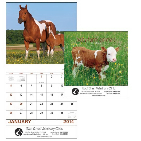 Stapled, 13-month 2015 Calendar With Adorable Barnyard Babies Photo