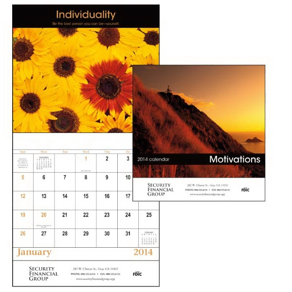 Stapled, 13-month 2015 Calendar With Dynamic Images And Motivational Quotes Photo