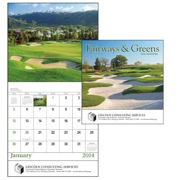 Stapled, 13-month 2015 Calendar Showcasing Beautiful Fairways Photo
