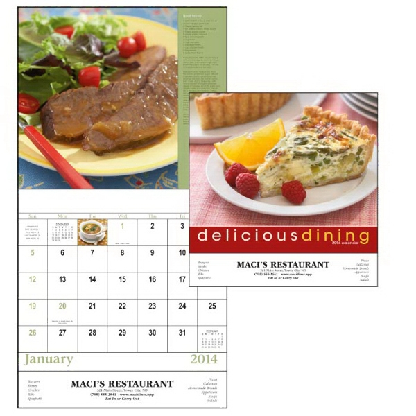 Stapled, 13-month 2015 Calendar With Recipes And Photos Of Delicious Dining Photo