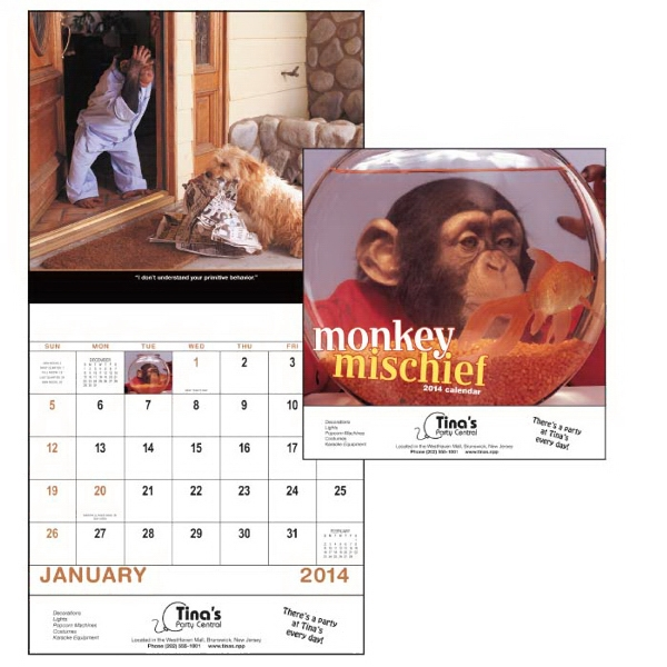 Stapled, 13-month 2015 Calendar With Funny Monkey Photographs Photo