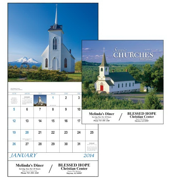 Stapled, 13-month Scenic 2015 Calendar With Charming Country Churches Photo