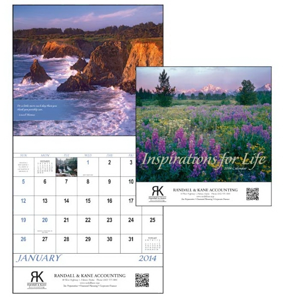 Stapled, 13-month 2014 Calendar With Spectacular Scenes And Inspiring Quotes Photo