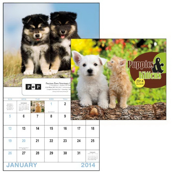 13-month Window 2015 Calendar With Adorable Images Of Puppies And Kittens Photo
