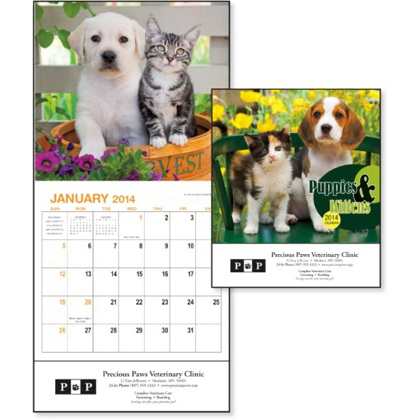 2015 Mini, 12-month Calendar With Adorable Images Of Puppies And Kittens Photo