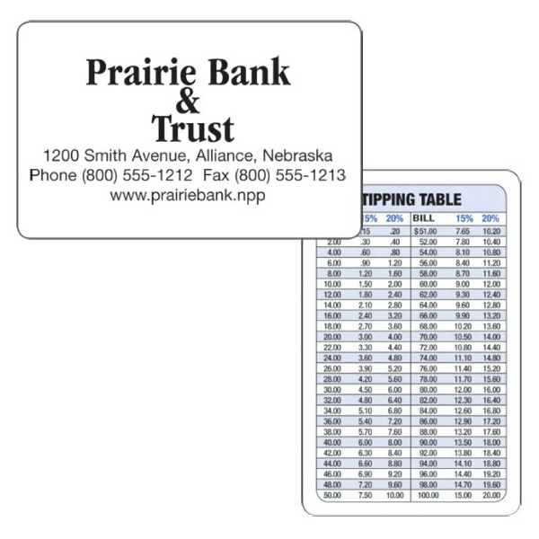 Tipping Table Wallet Card. The Back Of The Card Is A Handy Tipping Table Photo