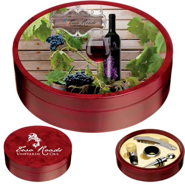 Wood Wine Set. Give This Wine Set For Your Next Annual Meeting Or Party Photo