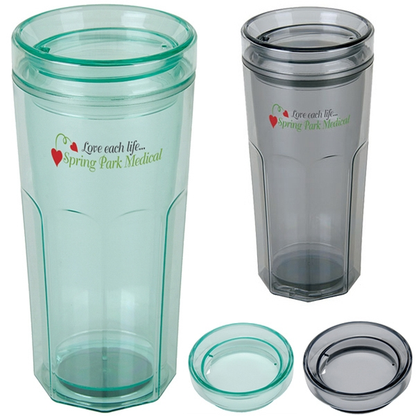 Retro - Clear Dual Wall Insulated 18 Oz. Tumbler With Color Tint Photo