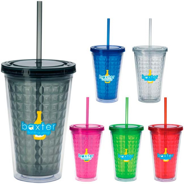 Double Wall Diamond Pattern Tumbler - 18 oz