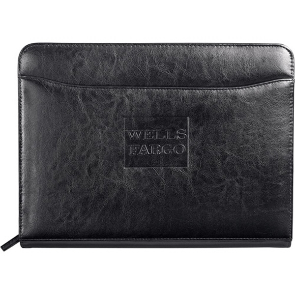 Renaissance - Italian Style Leather Zipper Padfolio. Interior Organizer With Gusseted File Pocket Photo