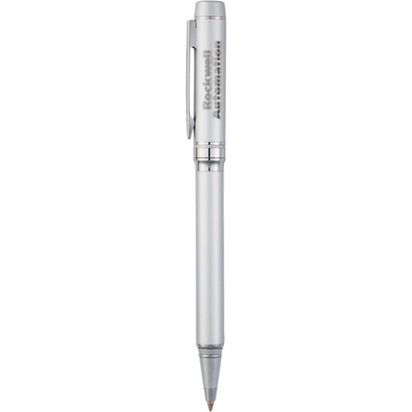 Legacy (tm) - Twist Action Silver Ballpoint Pen With Brass Barrel And Black Ink Cartridge Photo