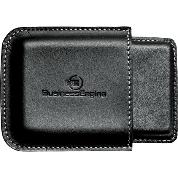Metropolitan - Black Premier Leather Business Card Holder, Easy-access Double Compartment Holder Photo