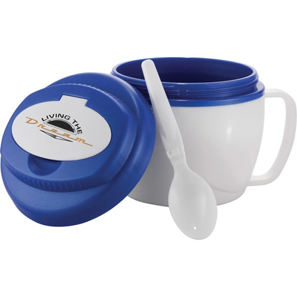 Soup To Go Cool Gear (r) - Insulated Bowl With Built-in Handle And Folding Spoon, Microwave Safe, 18 Oz Photo