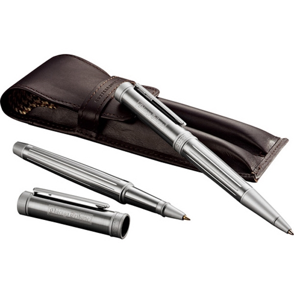 Cutter & Buck (r) American Classic Midlands - Silver Color Brass, Roller Ball And Twist Action Ballpoint Pen Set With Black Ink Photo