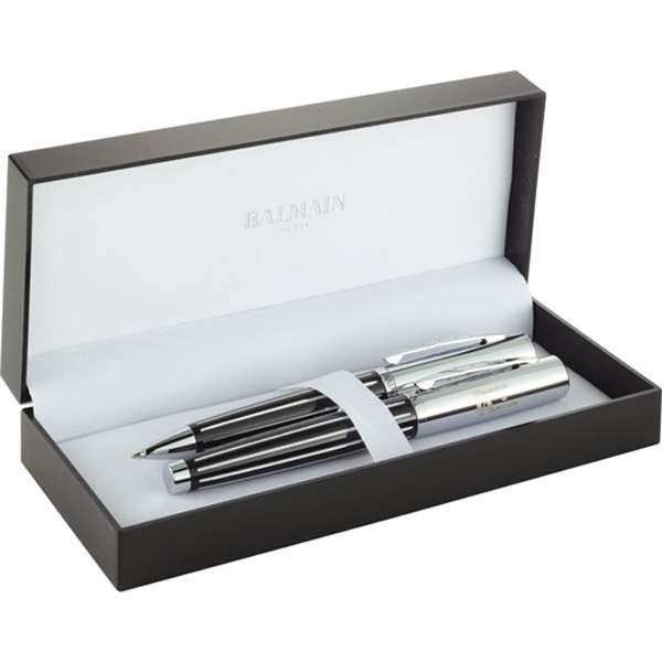 Balmain (r) Narbonne - Two-piece Pen Set With Twist Action And Roller Ball Pens, Black Brass Cap & Barrel Photo