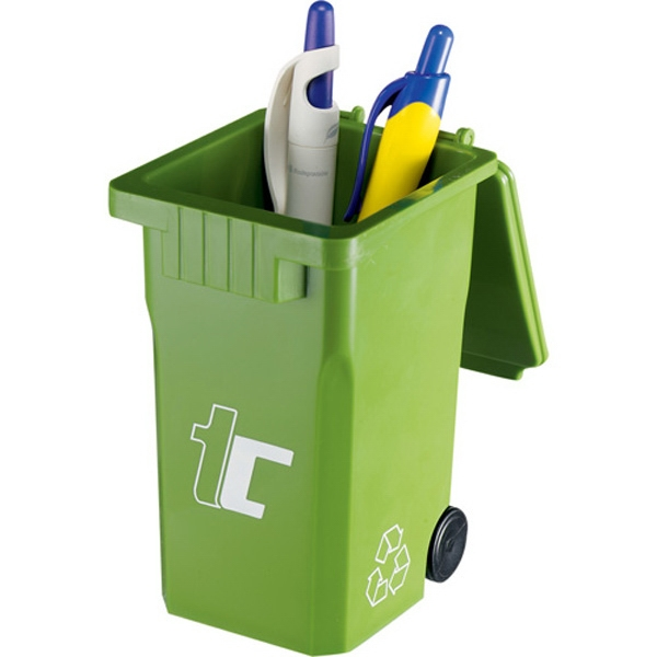 Loop - Green Pen Bin With Recycling Symbol Printed On Sides Of Pen Cup Photo