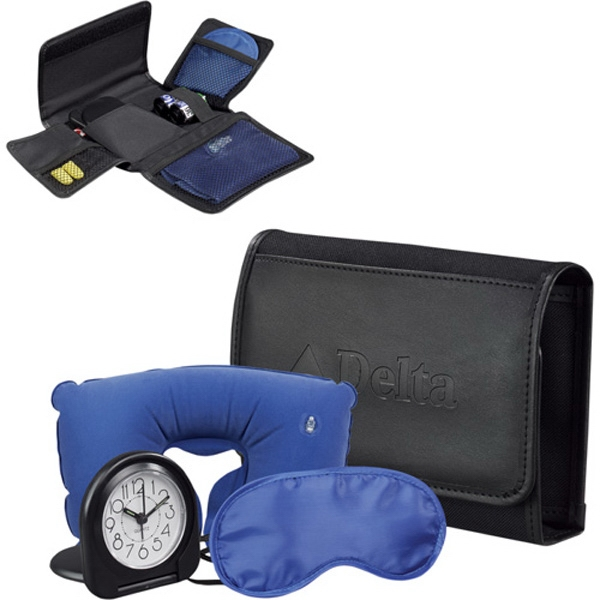 Comfort Travel Set Includes Inflatable Pillow, Eye Mask, Clock And Ear Plugs Photo