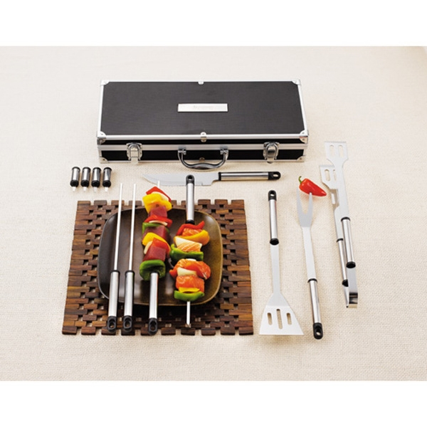 Grill Master - Aluminum Cased, 13 Piece Grill Set With Spatula, Tongs, Knife, Fork And More Photo