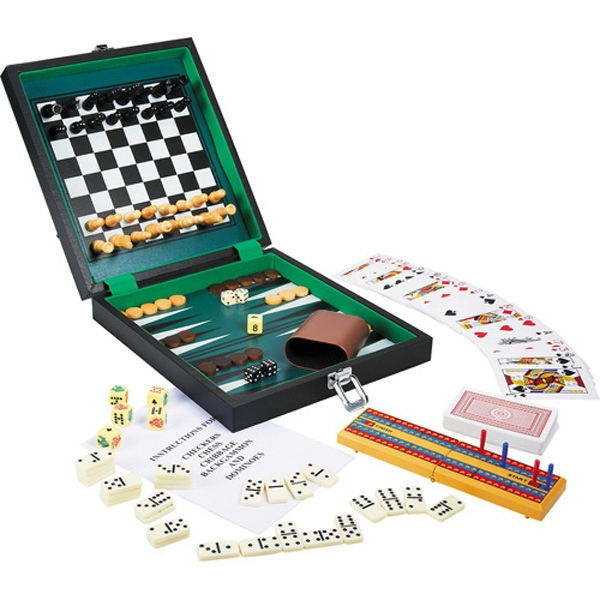 Six-in-one Game Set; Checkers, Chess, Dominoes, Backgammon, And More Photo