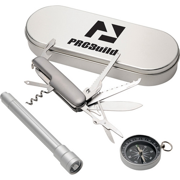 Pathfinder - Four Piece Gift Set Includes Compass, Multi-function Knife And Flashlight In Case Photo