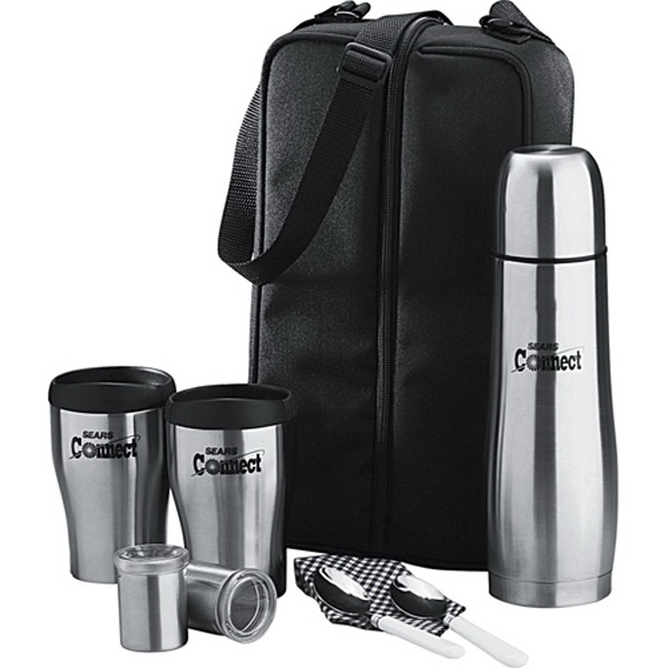 Cafe Tote For Two, Includes A Case, A Stainless Steel Bottle, Dispensers And More Photo