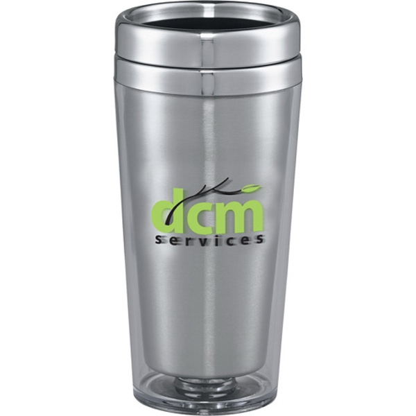 Glacier - San Plastic Tumbler With Stainless Steel Liner And Thumb Slide Lid, 16 Oz Photo