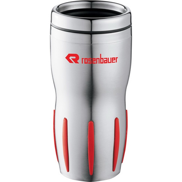 Tech - Stainless Steel Tumbler With Rubber-striped Grip And Thumb-slide Lid, 14 Oz Photo