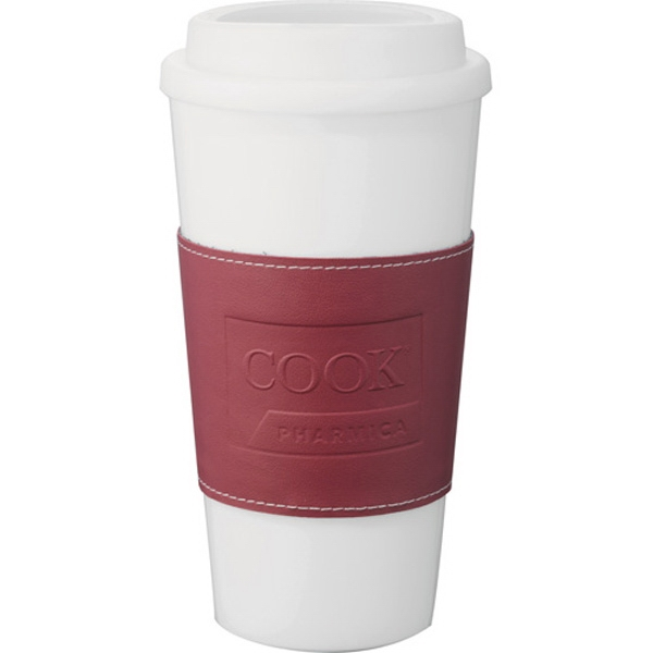 Double-wall 16 Oz Plastic Tumbler. Plastic Twist-off Lid. Removable Vinyl Sleeve Photo