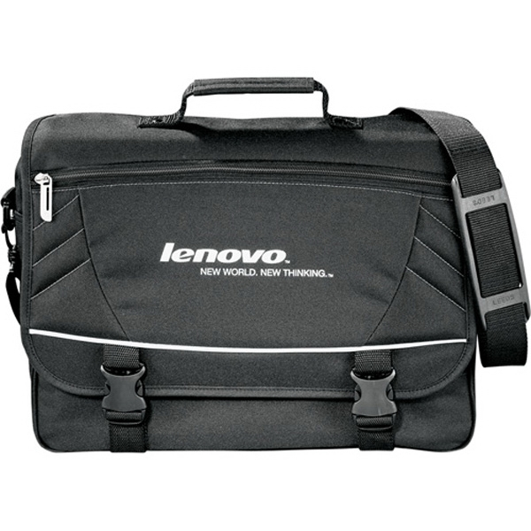 Precision (r) - Black 600d Polycanvas Messenger Bag With Front Pocket And Detachable Shoulder Strap Photo