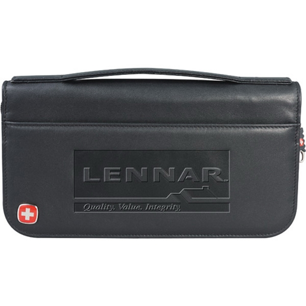 Wenger (r) - Black Genuine Top Grain Leather Travel Wallet With Interior Pockets And Pen Loop Photo