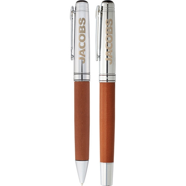 Cutter & Buck (r) - Pen Set Made Of Brass With Bottom Barrel Wrap In Genuine Leather Photo