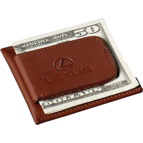 Cutter & Buck (r) - Chestnut Color, Genuine Top Grain Leather Magnetic Money Clip Card Case Photo