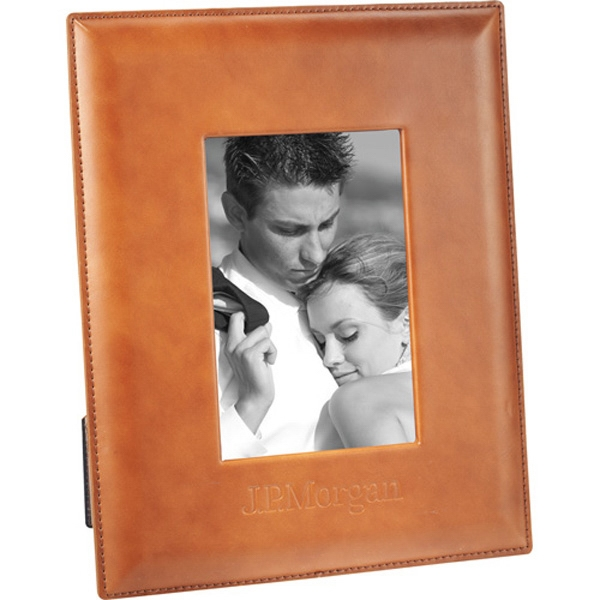 "Cutter & Buck (r) - Leather Picture Frame, Holds 4"" X 6"" Photo In Either Portrait Or Landscape Photo"