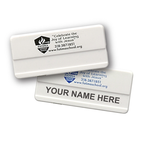 Small Plastic Name Badge with Safety Pin