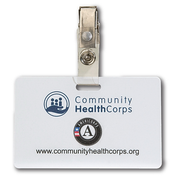 Horizontal Plastic ID Card w/ Badge Clip & 4 Color Process