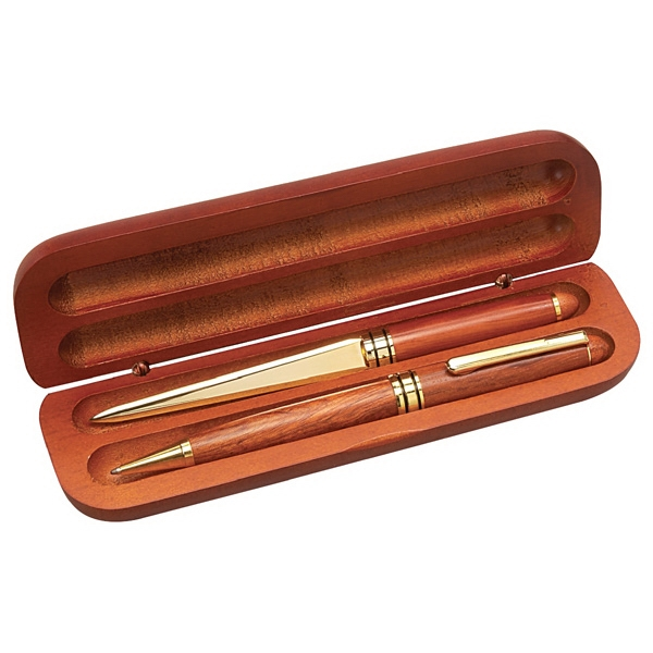 Rosewood Double Well Pen/pencil/letter Opener Gift Box Photo