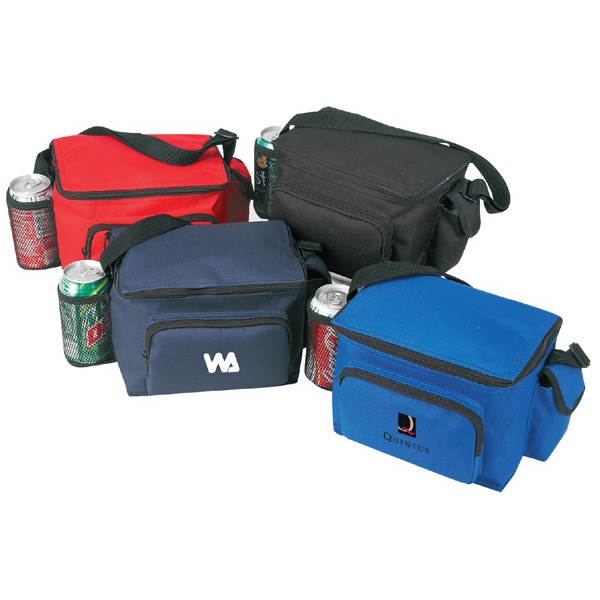 600D Polyester 6-Pack Cooler with Bottle Holder and Pouch
