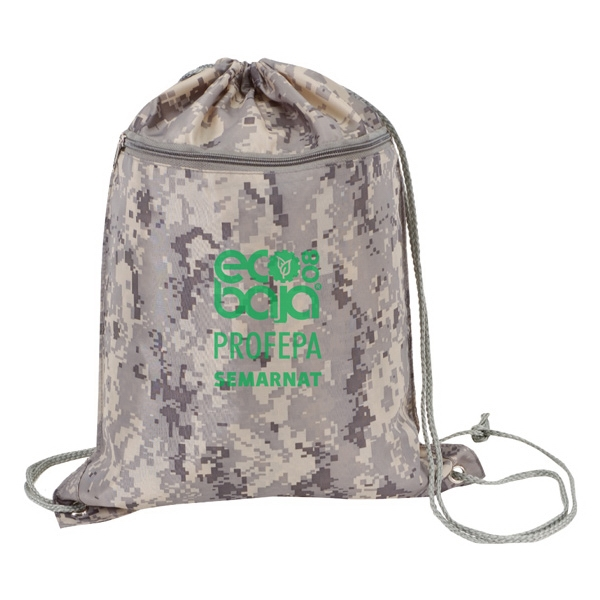 Drawstring Tote Bag With Zipper And Digital Camouflage Print Photo