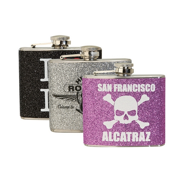 Glitter Wrapped 5 oz. Stainless Steel Hip Flask