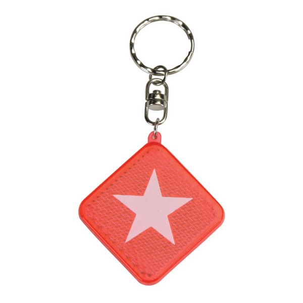 Square Diamond Red Reflector Keyring Photo